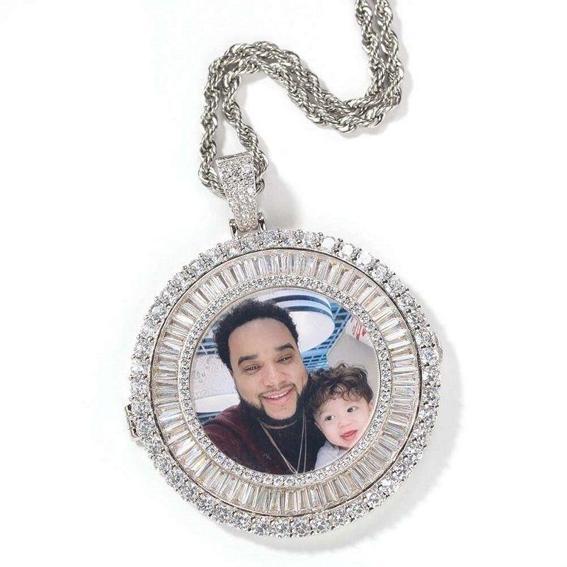 iced out immagine personalizzata collane con pendente uomini donne hip hop di Lusso Del Progettista diamante personalizzare foto pendenti coppia Famiglia gioielli regalo di amore