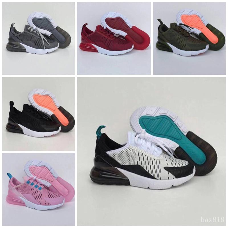 Nike air max 270 Дети Тройных кроссовки для мальчиков Обуви Девушки Платформы для детей Спорта Детей Chaussures Подросток Толстой подошвы молодежи