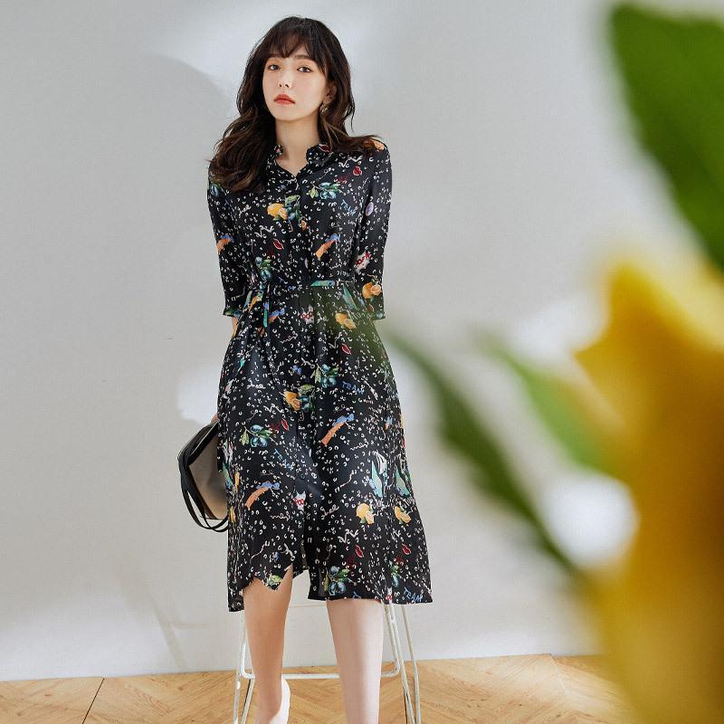 Crossmio silk dress 2020 new femininity fresh print lace up waistband mulberry silk medium length
