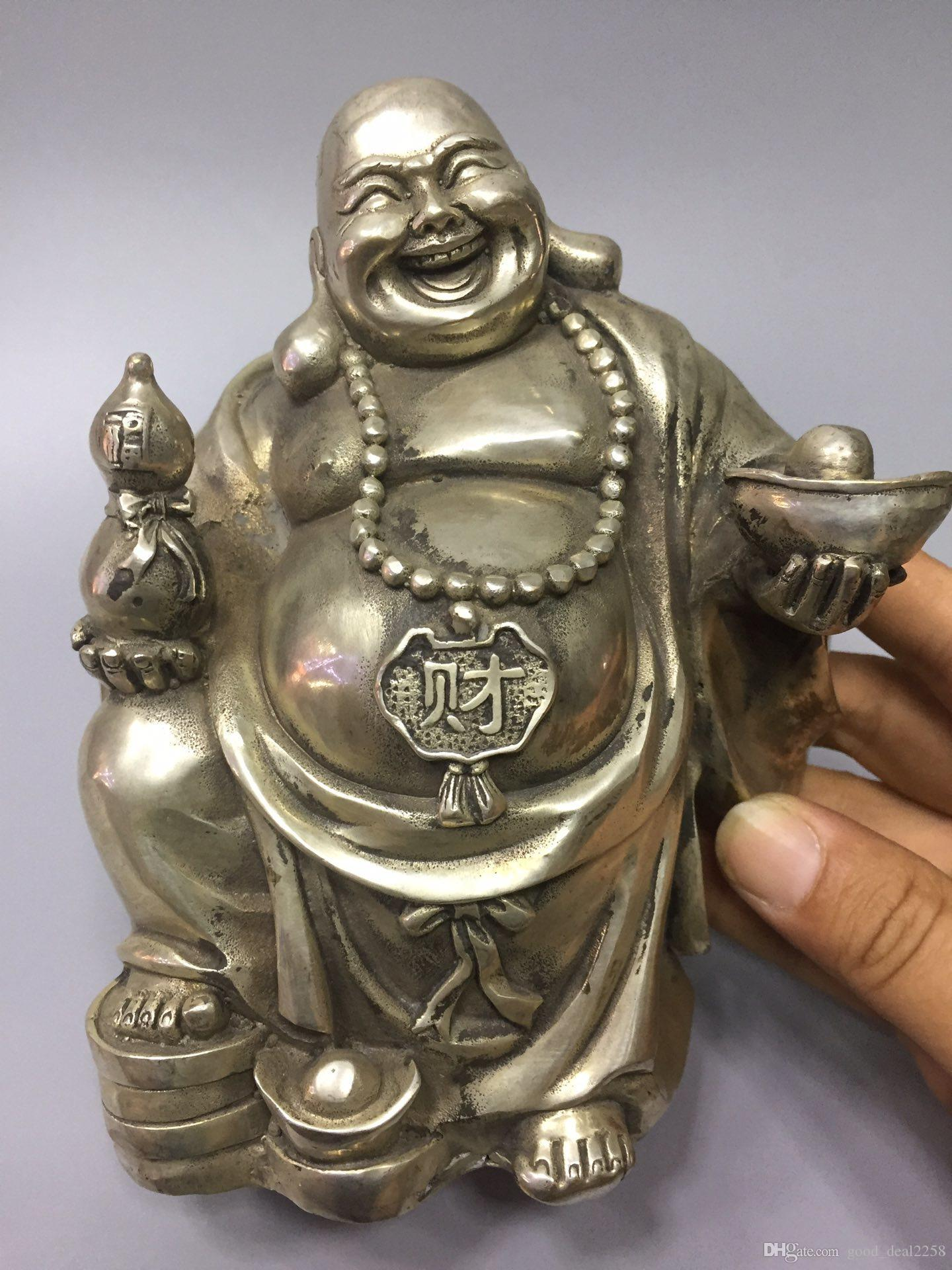 Chinese Exquisite Tibet Silver Hand-carved Buddha Statue  A735