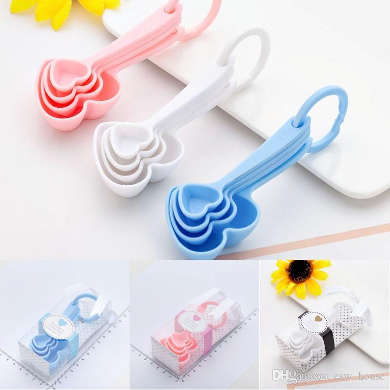 La medición en forma de corazón regalos del favor de cucharas favor de la boda partido recuerdo Baby Shower regalo de la cocina para hornear de plástico Measurring Cucharas regalos