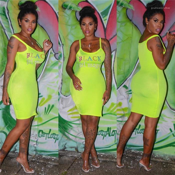 Impresión de la letra camisola vestido delgado de la manera del ajuste del Famale ropa casual de vestir para mujer atractiva del verano