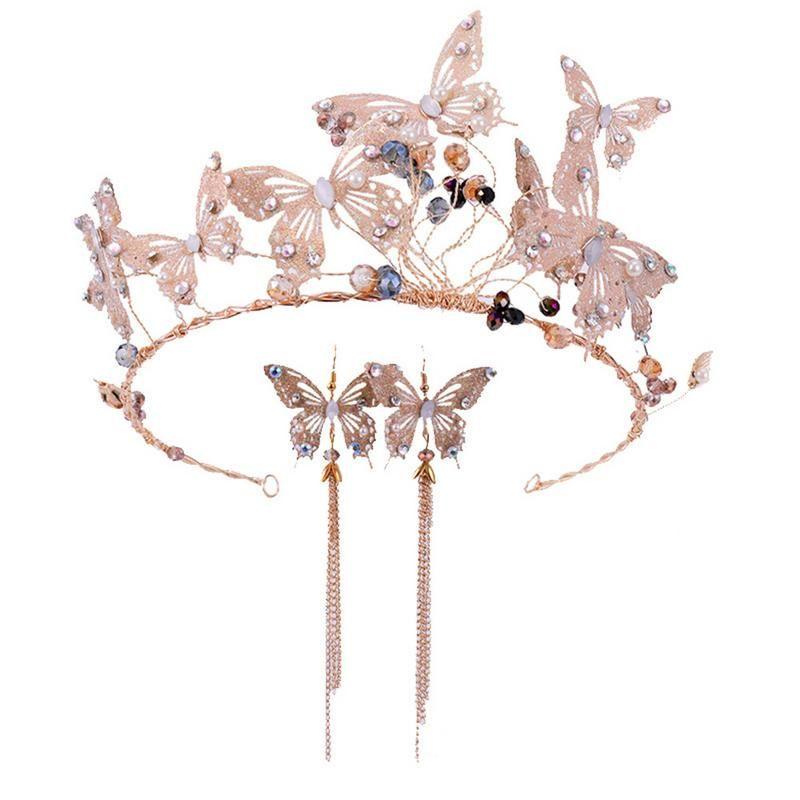 Bridal Crown Earrings Set Rhinestone Butterfly Crown Headband Tassel Long Earrings Bridal Headdress Wedding Accessories