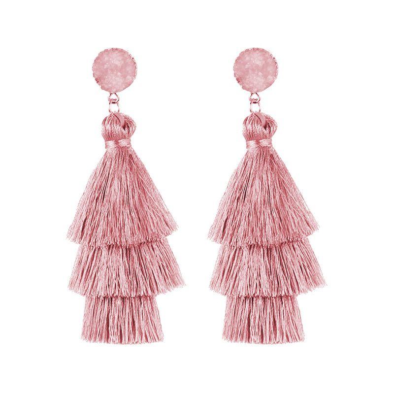 Colorful Layered Tassel Earrings Bohemian Dangle Drop Earrings for Women Girls Tiered Tassel Druzy Stud Earrings Women Gifts