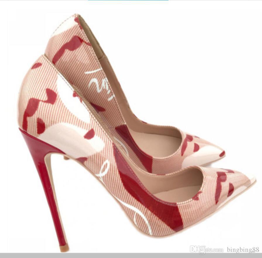 2019 Doodling Red bottom Chaussures à talons pour femmes 8cm 12cm 10cm grande taille 43 Cusp Fine talon Chaussures simples Boîte de nuit Banquet Mariage Mariée