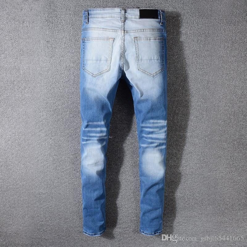 2019 top brand designer men's jeans fashion hole jeans luxury casual clothes street motorcycle hand pencil feet jeans