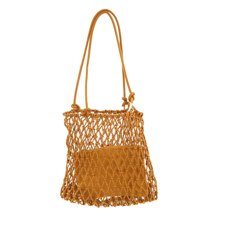 Gold, silver 2 color bright paper ropes hollow woven bag cotton lining straw bag female Reticulate handbag netted beach