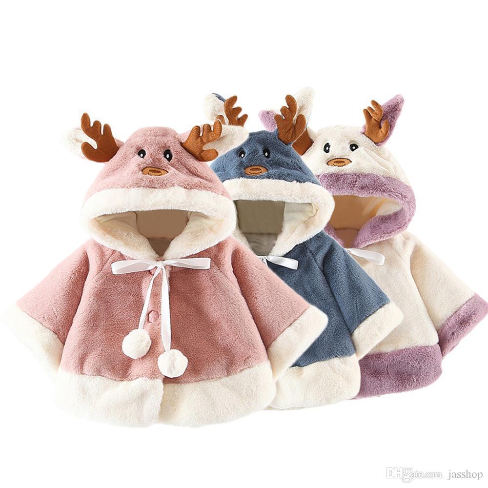 Bambini bambini dei ragazzi delle neonate dei vestiti del costume di Natale cervi mantello incappucciato del Capo Robe Coat Ragazzi Ragazze Roupa Infantil Coat