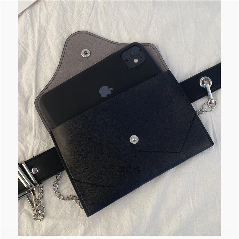 ins a nastro perforato senza Lady Black cellulare borsa appesa alla moda del tutto-fiammifero decorativo cellulare sottile cintura in esecuzione bag