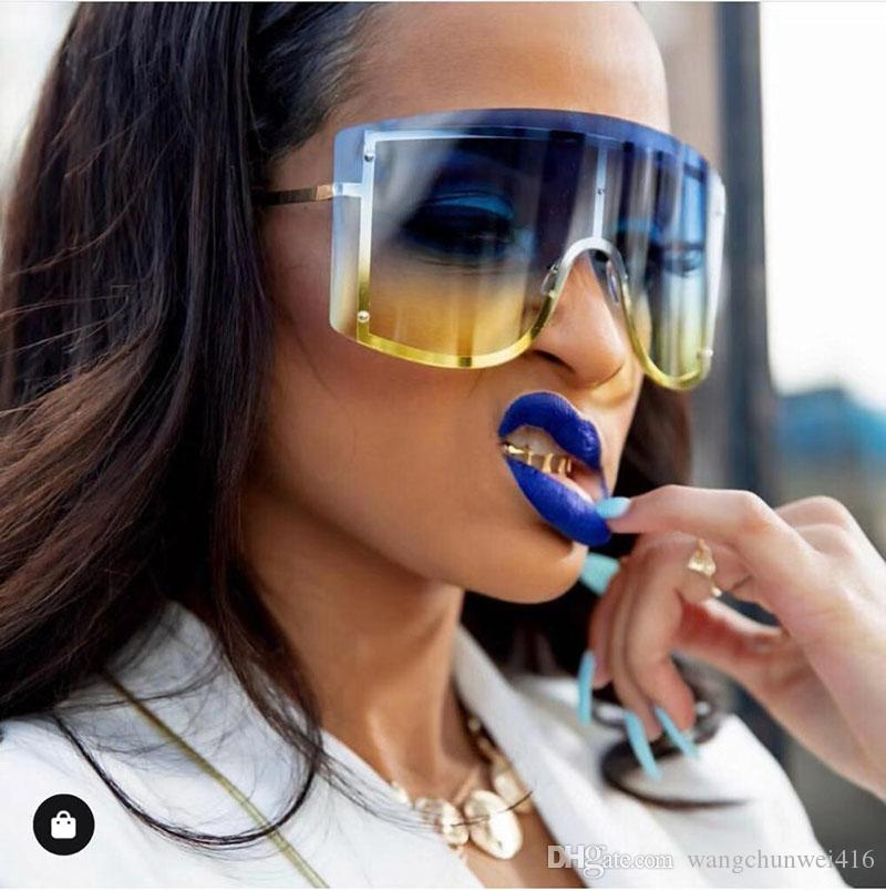 occhiali da sole di grandi dimensioni occhiali da sole di lusso occhiali da sole donne gradiente 2019 designer di marca Red Rimless metallo femminile vacanza occhiali da sole tonalità