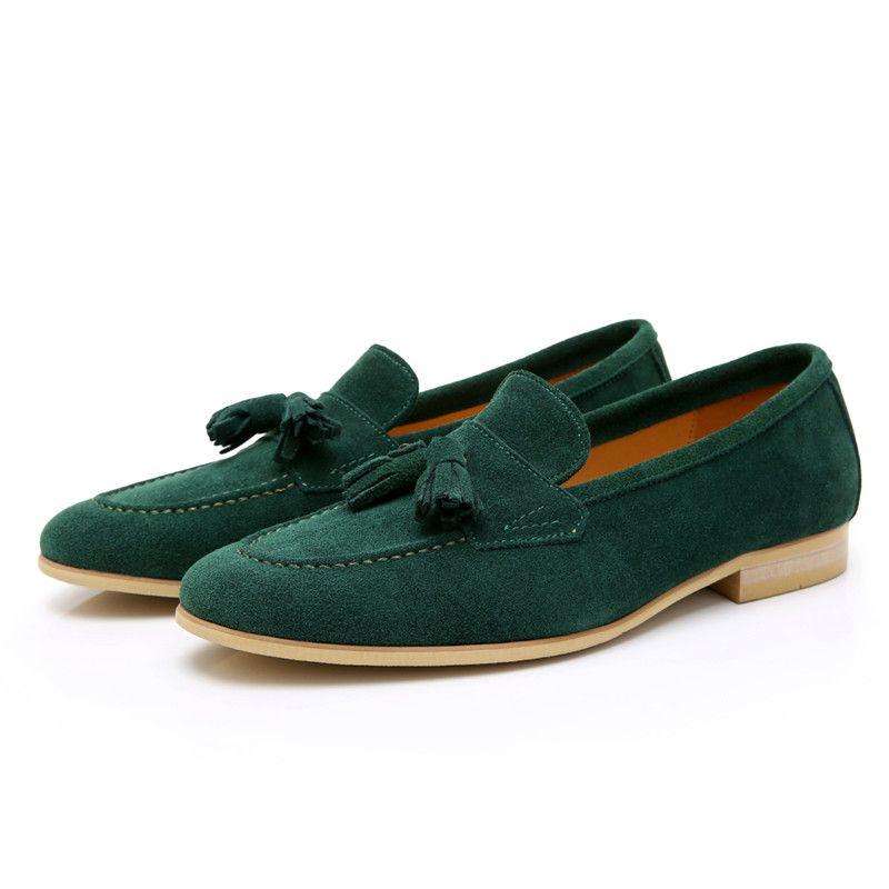 Schwarzgrünes Veloursleder Freizeitschuhe Männer Slip-On Quaste Kleid Wohnungen Schuhe Mode lässig Schuhe bequeme Müßiggänger