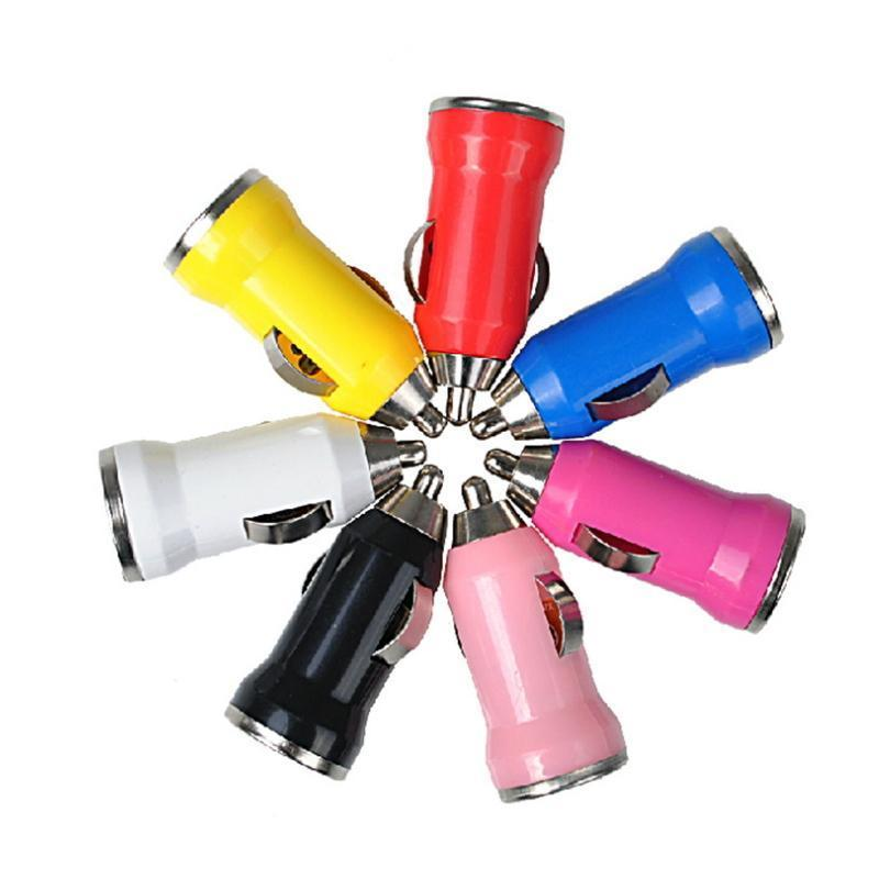 Mini Bullet colorful USB Car Charger Adapter for Ipod Iphone 5 5g 4G 3GS 3G 2G Cell Phone Mp3 Mp4 Mp5 10Colors