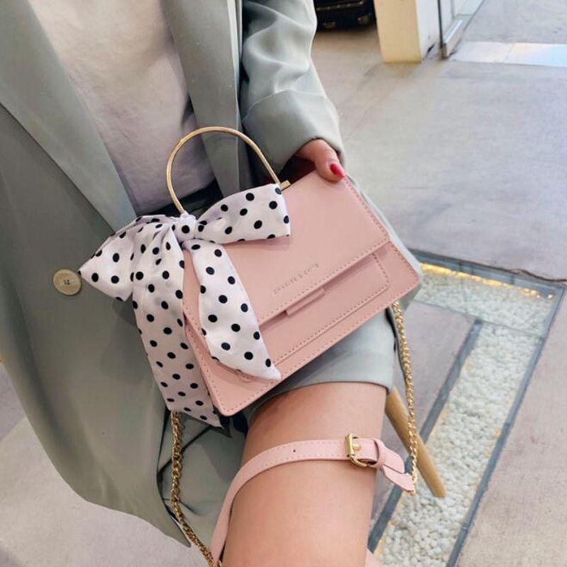 Elegant Female Ribbon Bow Tote Bag 2020 Summer New High Quality PU Leather Women's Designer Handbag Chain Shoulder Messenger bag