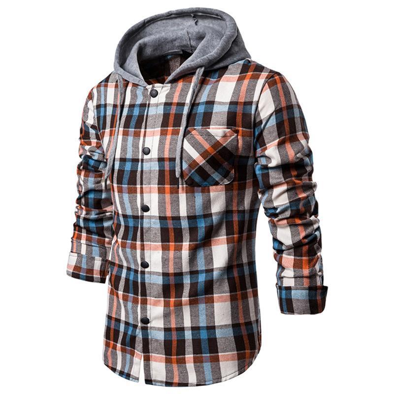 homens da mola solta da manta shirt Homens manga comprida camisas encapuçados Hip Hop Streetwear Malha imprimir Masculino Casual shirt Tops Blusa