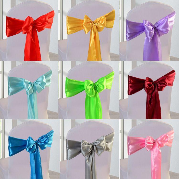 Chaises de mariage Knot Satin Chair Fabric Jupettes Bow couverture pour soirée de mariage Banquet événement Décorations couleur bonbons