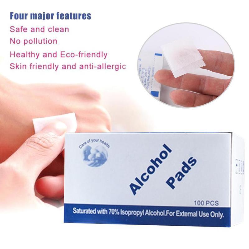 100pcsalcohol Prep Swap Tampt Wey Wipe Désinfection jetable pour la peau antiseptique Soins de nettoyage Bijoux Nettoyage de téléphone