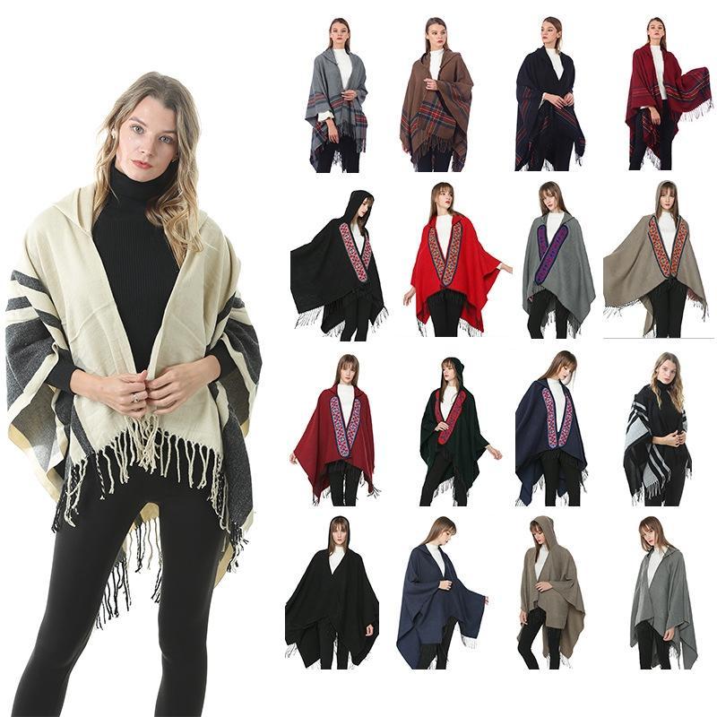 Femmes Capuche Tricot Cape Mode Femme Broderie Chaude Imprimer Écharpe Gland Cachemire Poncho Hiver Châle Couverture TTA1739