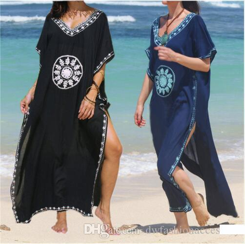 Ricamo fodera in cotone Beach fino copertina Saida de Praia Donne Bikini Swimsuit fino Tuniche di Beach Pareo Sarong Beachwear