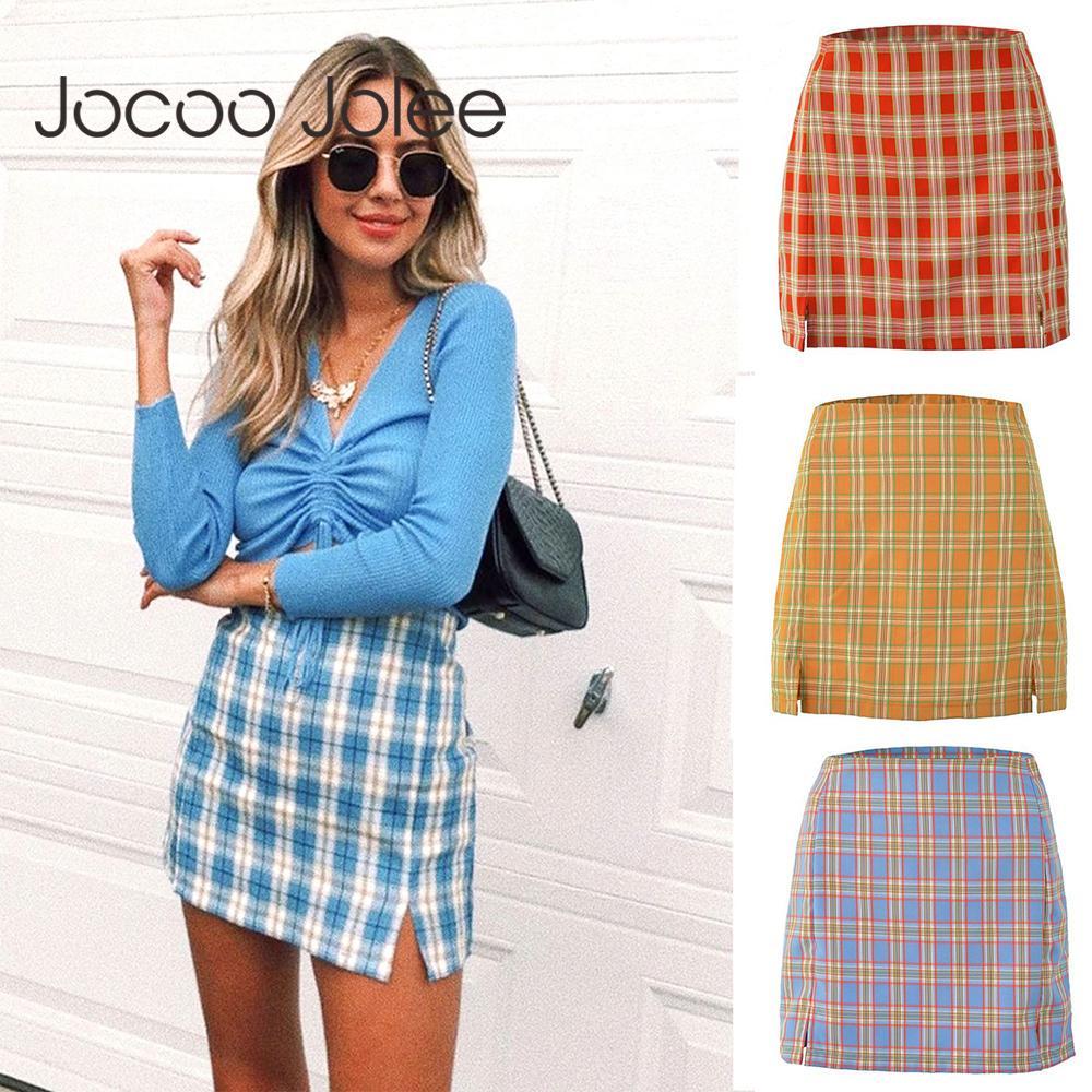 Jocoo Jolee Femmes Mode coton à carreaux Jupe moulante Spring Europe style élégant de Split Jupes Chic taille haute Bas sauvage Y200704