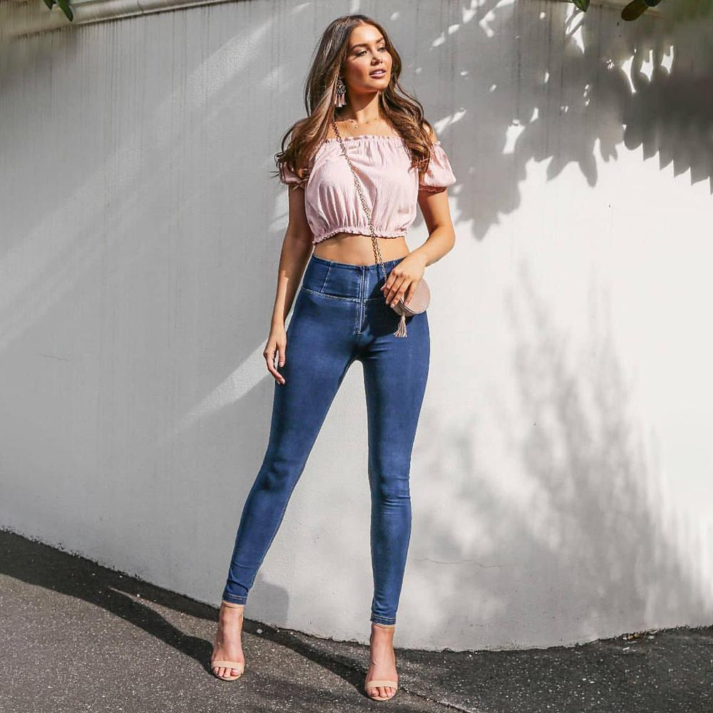 Melody Four Ways Stretchable High Waist Jeans Dunkel / Hellblau Reißverschluss-Denim-Jeans super bequeme dünne Mujer 2019