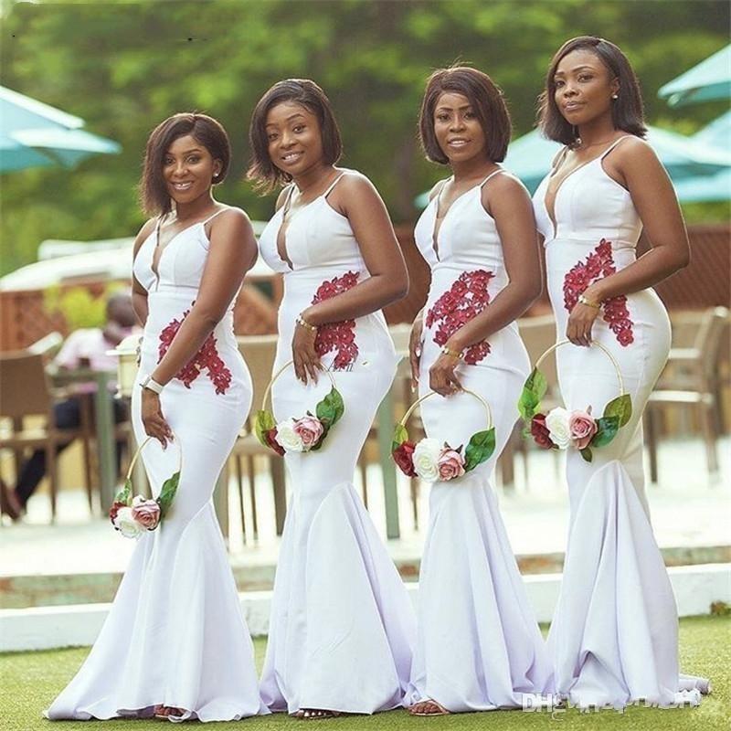 2020 New Black African Girl Mermaid abiti da sposa Plus Size scollo a V abiti convenzionali Maid Of Hornor vestito delle donne Abiti