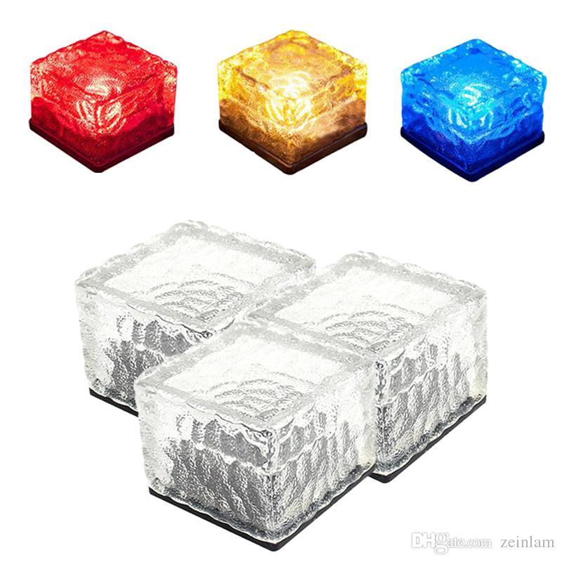 LED subterrânea noite Lamp caminho deck luz branca azul RGB Solar tijolo Cube Ice Path recesso levou Piso luzes ao ar livre à prova de água