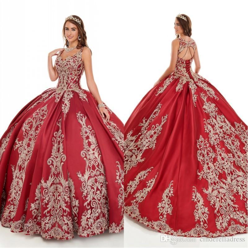 2020 Принцесса Вышивка Бальное платье Цюрькообразные Платья Спагетти Бисероплетенные замочные скважины Назад Паргерное платье для сладких 16 девушек