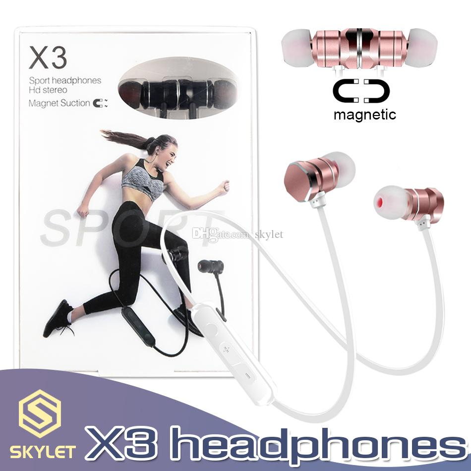 X3 Bluetooth Sport Auriculares Auriculares magnéticos inalámbricos Auriculares estéreo Auriculares de metal Manos libres En el oído con micrófono en la caja