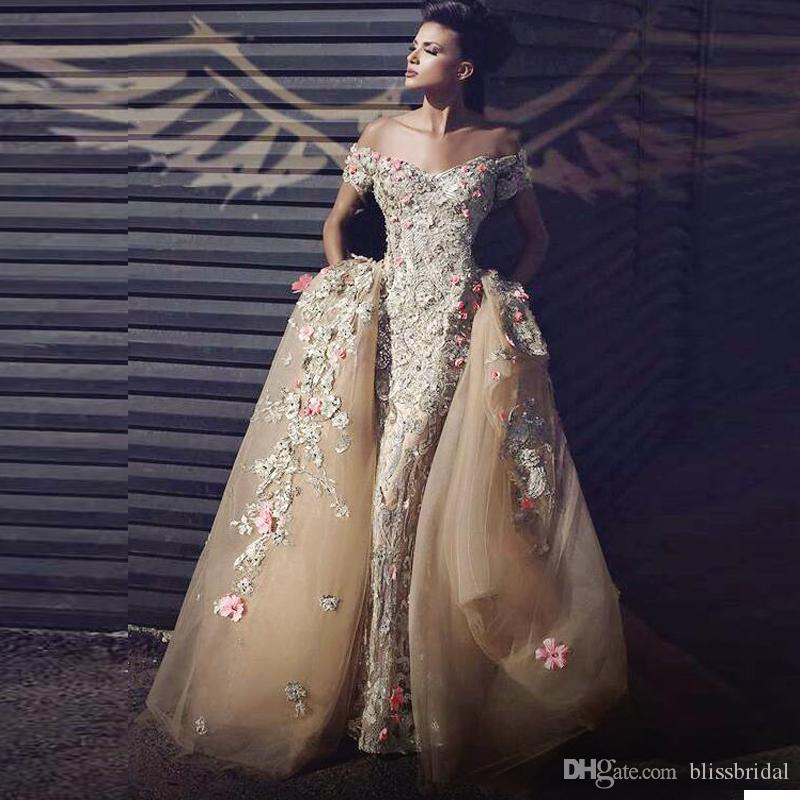 Latest Said Mhamad Prom Dresses with Floral Appliquescharming Off Shoulder Short Sleeves Party Dresses Charming Tulle Mermaid Evening Dress