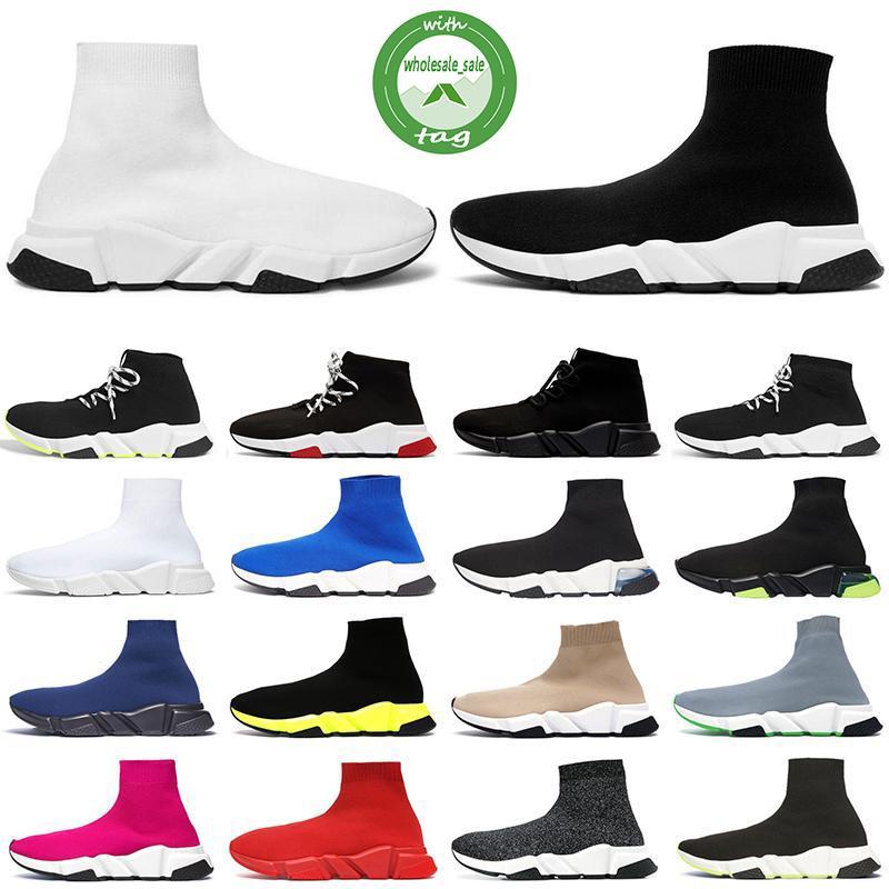 Plus récent Chaussette Chaussures Vitesse Entraîneur respirant Sneakers Vitesse Entraîneur Sock course Runners noir hommes Chaussures et femmes Chaussures de sport 36-45