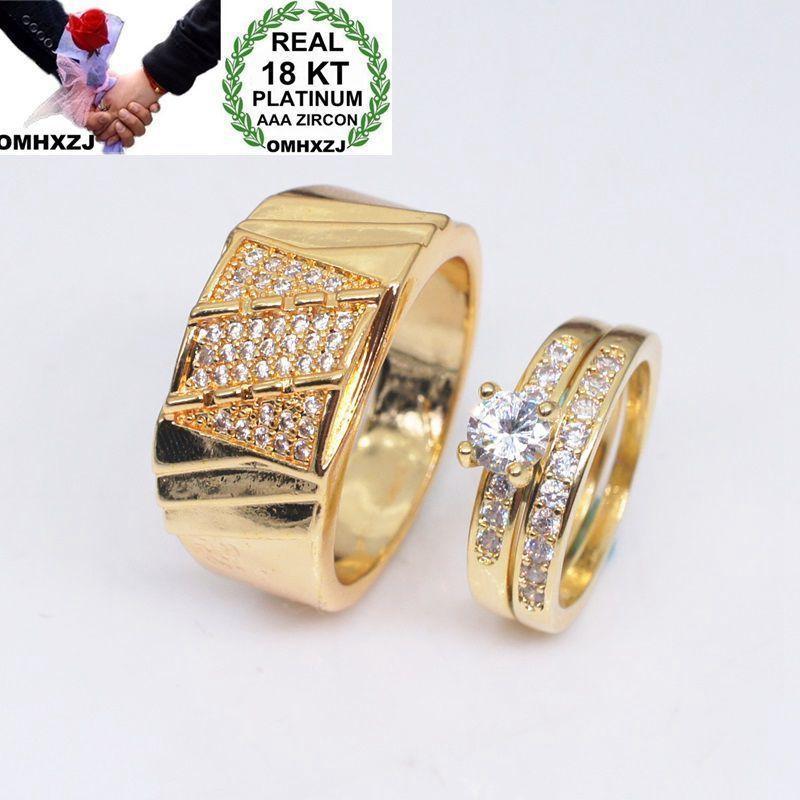 OMHXZJ all'ingrosso europeo moda donna uomo festa regalo di nozze amanti di lusso zircone bianco anello in oro giallo 18 carati RR715