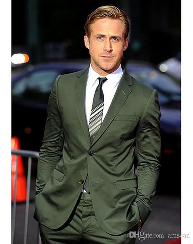 Groomsmen Zeytin Yeşil Damat Smokin Custom Made Erkekler Notch Yaka İyi Adam Suits 2 parça Düğün Suit (Ceket + Pantolon + Kravat) YM