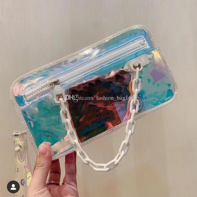 Hochwertige Herren Designer Umhängetaschen Laser Flash PVC Handtasche Mode Regenbogen Transparente Taschen Umhängetaschen Brieftasche Kleine Geldbörse Einkaufstasche