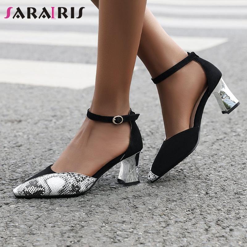 SARAIRIS High Heels Date Sandals Fashion Summer Patchwork Sandals Women Cool mixed-color Shoes Woman