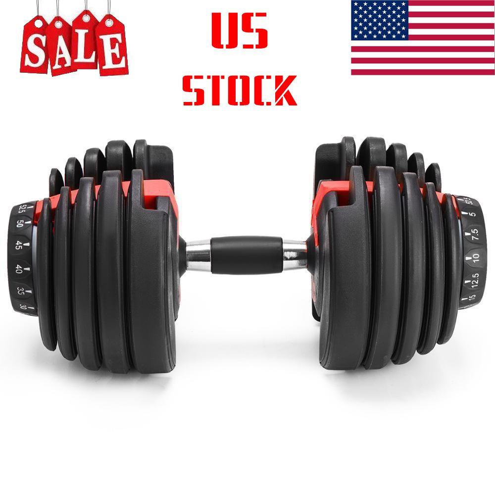 الولايات المتحدة STOCK! الوزن قابل للتعديل الدمبل 5-52.5lbs للياقة البدنية التدريبات الدمبل لهجة قوتك وبناء عضلاتك