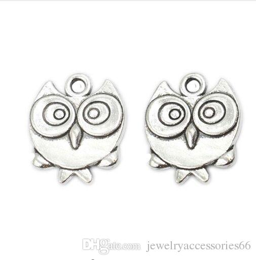 100pcs Tibetan Silver Plated Bird Owl Charms Pendants for Bracelet Necklace Jewelry Making DIY Handmade Craft 17x15mm