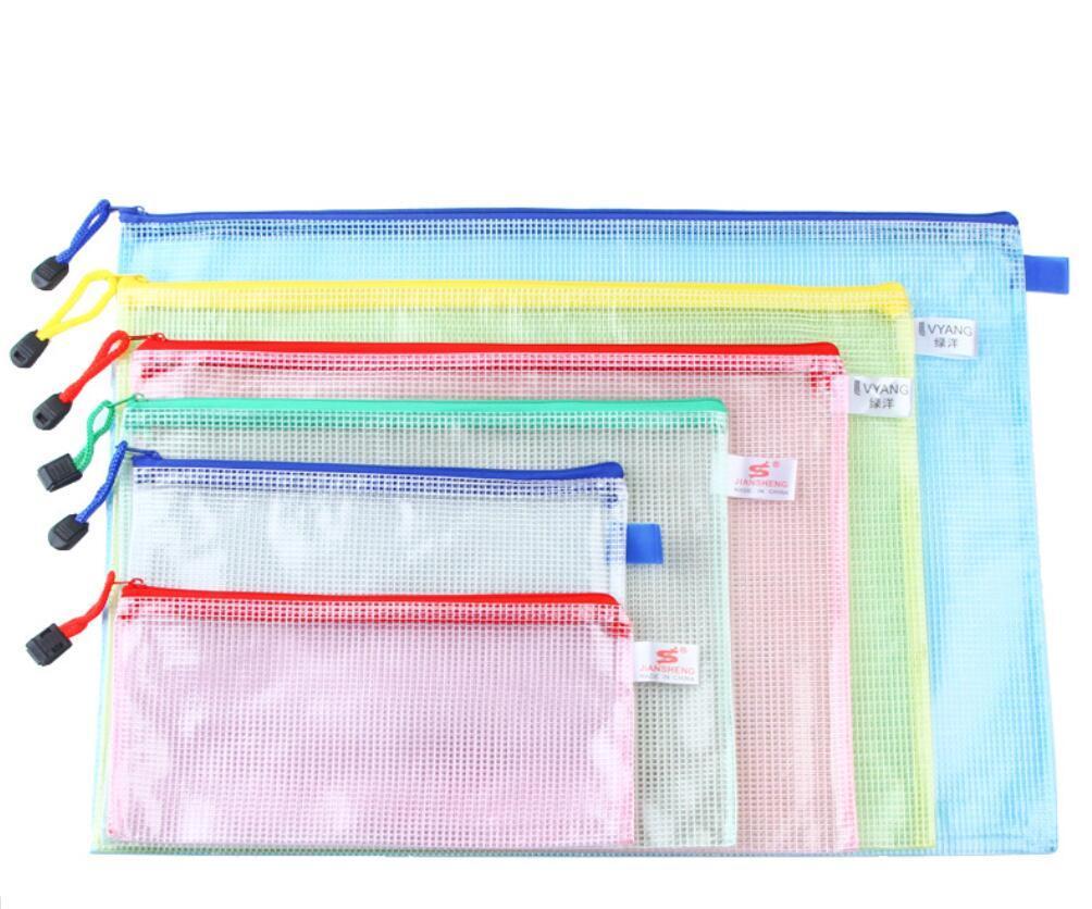 A6 A5 B5 A4 مجلد المستندات زيبر الملف أكياس بلاستيكية محافظ مجلد زيبر الملف حقيبة قلم رصاص حالة ماكياج مدرسة التخزين مكتب التموين