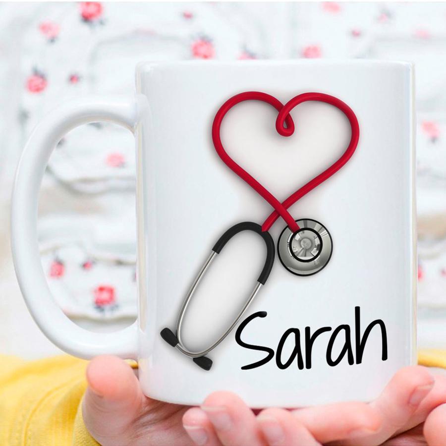 개인 머그잔 !! 간호사와 의사를위한 재미 있고 독창적 인 선물 머그컵 인 청진기 커피 머그잔, 양면 인쇄!