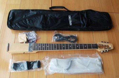 Minstar Marka Jazzstar Seyahat Elektro Gitar Doğal Carring Çanta ile