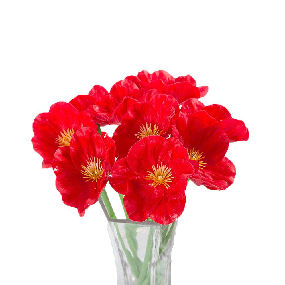 10pcs Plastic poppy flower bouquet DIY handmade wedding decoration craft fake flower