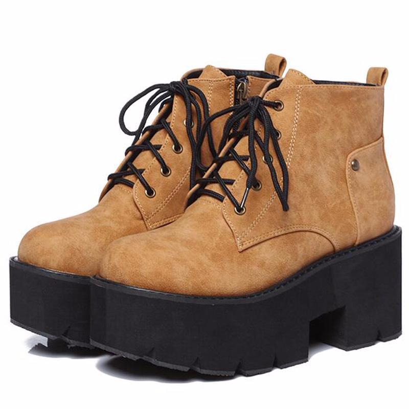 Hot stivali punk Vendita-marrone delle signore delle donne stivali tacco alto scarpe invernali moto caviglia neve impermeabile lace up YMA441