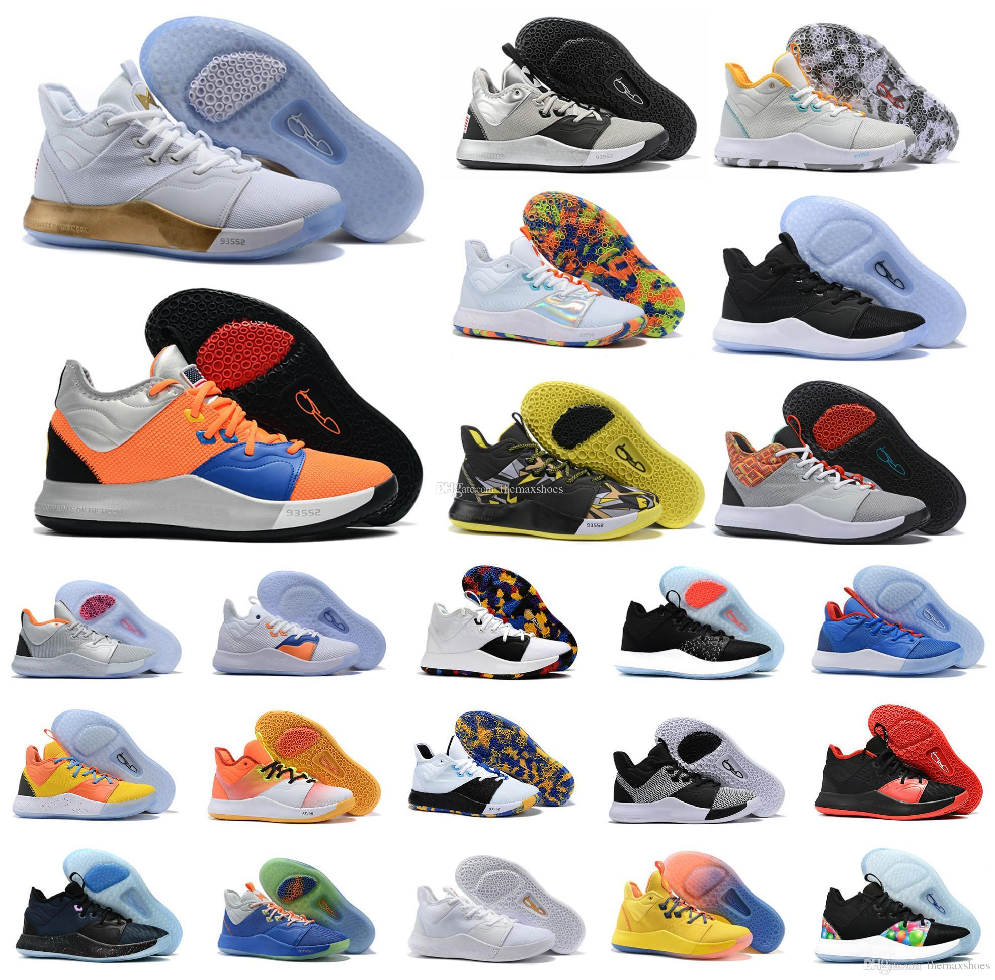 2019 Sıcak Paul George PG 3 3S PALMDALE III P.GEORGE Basketbol Ayakkabı Ucuz PG3 Starry Mavi Turuncu Kırmızı Siyah Spor Sneakers Boyut US7-12