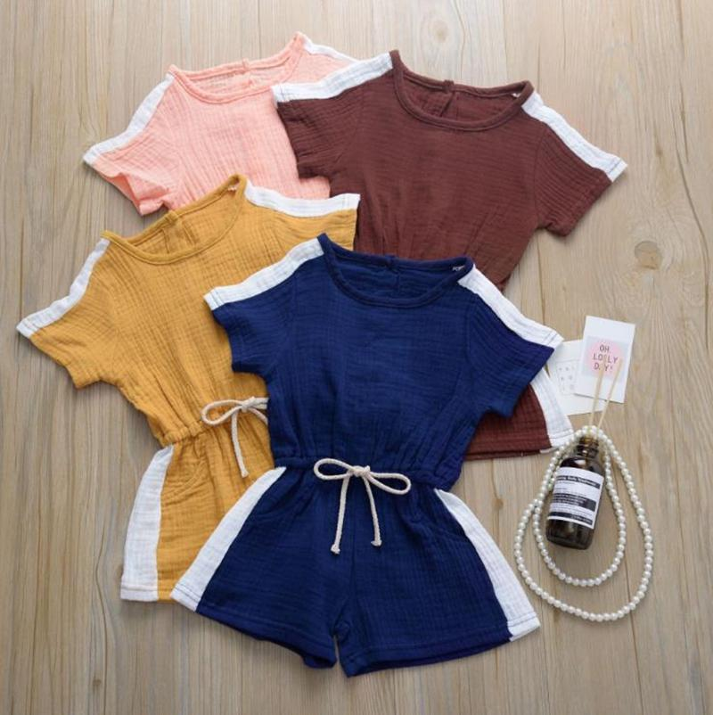 Summer Toddler Clothes Splicing Color Baby Girl Romper Cotton Children Boy Jumpsuits Short Sleeve Kids Playsuits Boutique Baby Clothing 5254