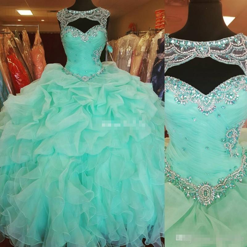 Por encargo de la verde menta balón vestido de novia vestidos de quinceañera Sheer con cuentas cuello corsé Volver Volantes organza tamaño Debutante Prom Vestidos