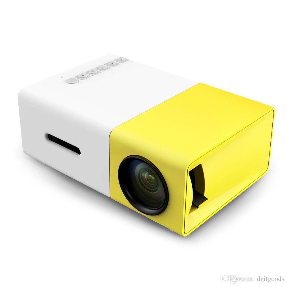 YG300 LED 휴대용 프로젝터 400-600LM 3.5mm 오디오 320 x 240 픽셀 YG-300 HDMI USB 미니 홈 미디어 플레이어