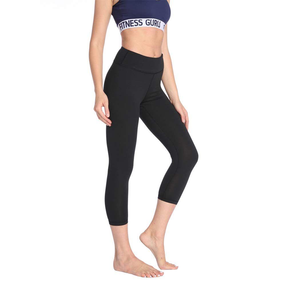 Womens High Waist Yoga Pants Tummy Control Summmer Comfort High-Rise Lightweight Leggings Running Black Quick Dry