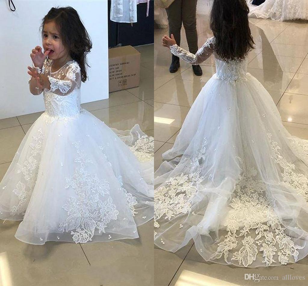Moderne langen Ärmeln Blumenmädchenkleider Hochzeit 2020 Spitze Appliqued lange Kinder-formale Abschlussball-Kleider Sheer mit Rundhalsausschnitt kleine Mädchen Kleid AL3414