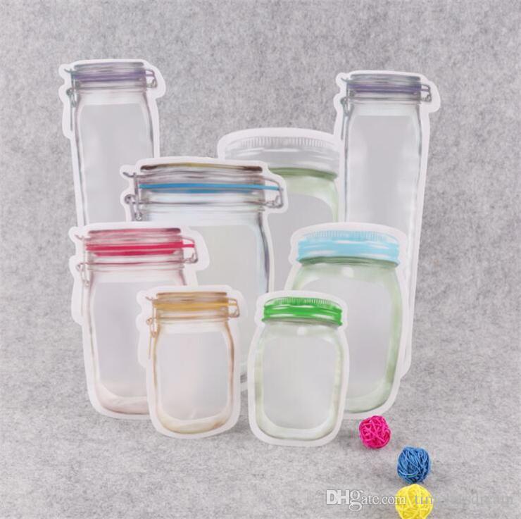 Mason Jar Shaped Reißverschluss Food Storage Bag Wiederverwendbare Bulk Food Vorratsdose Plätzchen Snacks Süßigkeiten Auslaufsichere Taschen Küchenorganisation Taschen