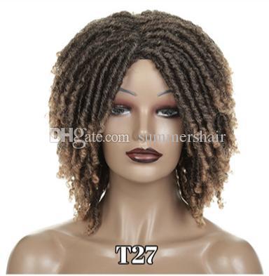 14 дюймов синтетических париков для чернокожих женщин вязание крючком оплетки твист джамбо боговые искусственные ложки прическа короткие афро омбре
