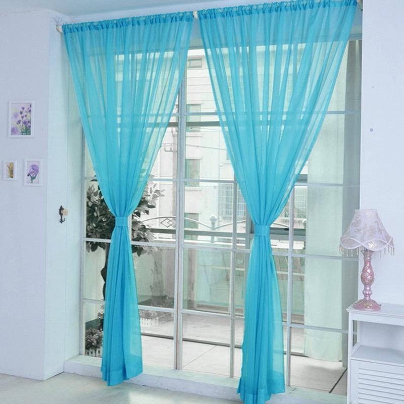 순수한 색상 얇은 명주 그물 문 창 커튼 드레이프 패널 쉬어 스카프 장식 천 현대 침실 거실 커튼 CORTINAS 커튼